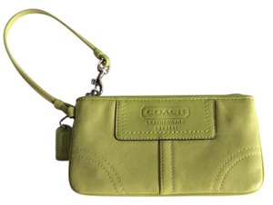 Coach Leather Embossed Wristlet in Green