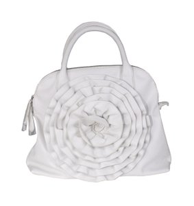 Valentino Rosette Embossed Leather Tote in white