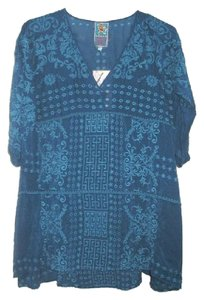Johnny Was Embroidered V-neck 3/4 Sleeves Eyelet Tunic