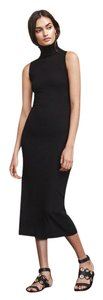Black Maxi Dress by Reformation Midi Turtleneck Bodycon Sleeveless Maxi