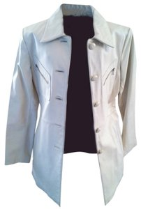 Kenneth Cole Reaction Cream (Ivory) Leather Jacket