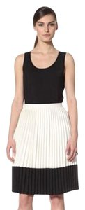 Eva Franco Pleated White Pleated Sz4 Skirt Ivory/Black