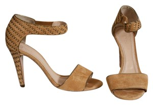 Chloé Studded Suede Leather Stiletto Gold Beige Sandals