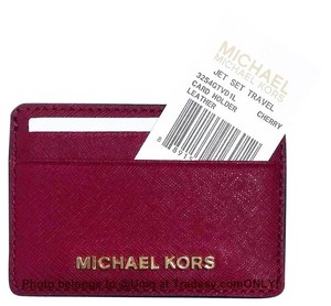 218764ab28af Michael Kors Cherry (Dark Red) Mk Saffiano Leather Card Case Credit Card  Holder Wallet