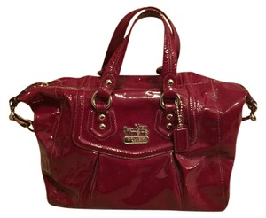 Coach Patent Leather Removable Strap Silver Hardware Satchel in Red