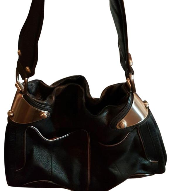 Item - Unknown Black with Silver Metal Hardware Leather Hobo Bag