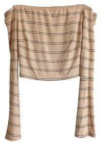 Solemio Top Light Tan Think Black and White Stripes