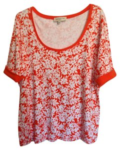 NY Collection Shirt Ny Blouse T Shirt Orange and White