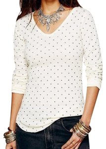 Free People We The Free Polka Dot Thermal Knit T Shirt IVORY & BLACK