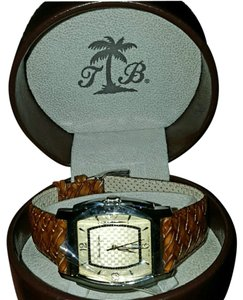 Tommy Bahama Mens Tommy Bahama Stainless Steel Swiss Quartz with braided leather band