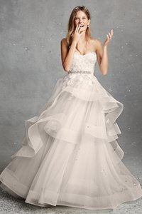 Monique Lhuillier White Bliss Bl1518 Formal Wedding Dress Size 4 S