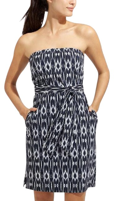 Item - Navy and White Ikat Strapless Anywhere #215185 Short Casual Dress Size 2 (XS)