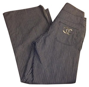 Chanel Trousers Jeans Striped Wide Leg Pants Blue/Silver/White