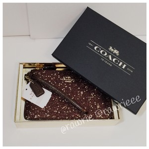 Coach Gift Box Glitter Shimmery Box Wristlet in Bronze