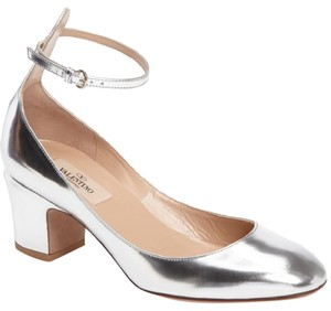 Valentino Metallic Silver Ankle Strap Leather' Silver Metallic Pumps
