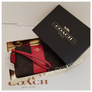 Coach Gift Box Box Monogram Red Leather Patent Leather Wristlet in Brown