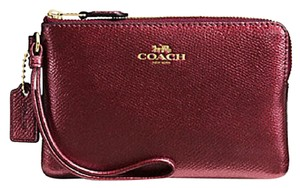 Coach Gift Box Small Zip Cute Shimmery Wristlet in Burgundy
