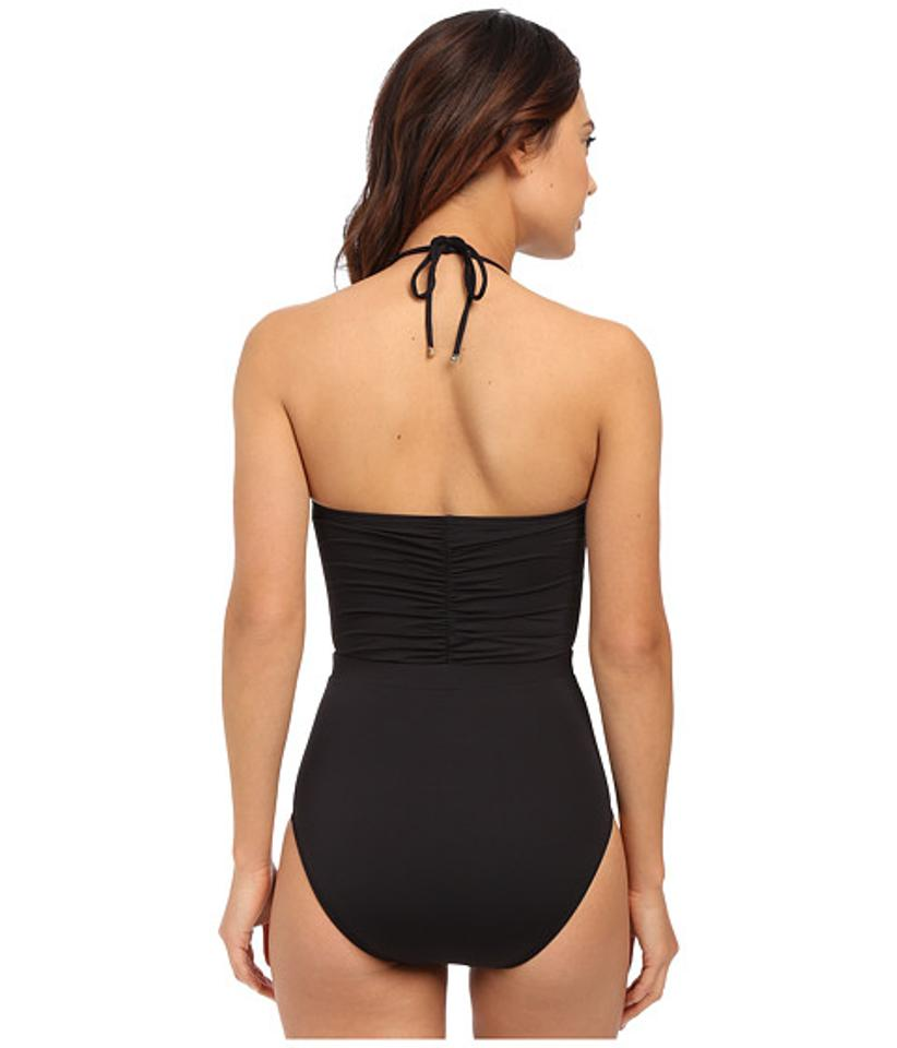 michael kors black draped solids halter maillot one piece bathing suit size 8 m tradesy. Black Bedroom Furniture Sets. Home Design Ideas