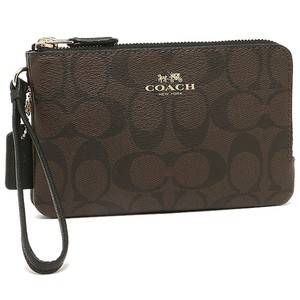 Coach Gift Box Monogram Double Zip Black Leather Wristlet in Brown