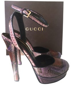 Gucci Huston Violet Snakeskin Snake Runway Limited Edition Mary Jane Multicolored Python Ankle Strap Ankle Open Heel Heel purple Pumps