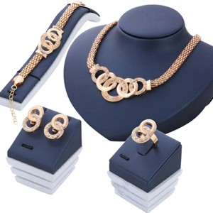 Other Gold tone European Crystal Jewelry Set of 4