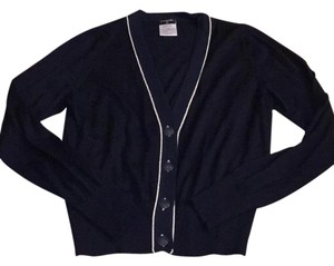 Chanel Metallic Blue Long Sleeve Button Up Nautical Sweater