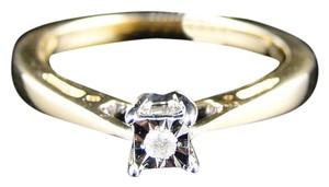 Other 10K Yellow Gold Solitaire Diamond Bridal Wedding Engagement Band Ring