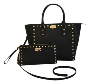Michael Kors Mk Satchel Studded Crossbody Strap Wristlet/clutch Saffiano Tote in Black