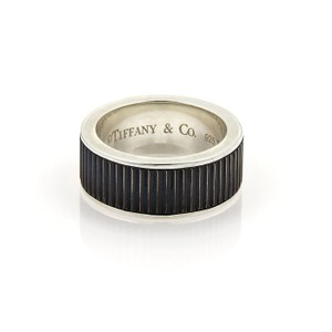 Tiffany & Co. Sterling Silver & Titanium Coin Edge Black Ring Band