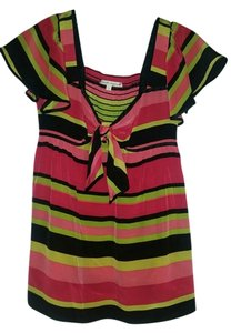 Nanette Lepore Top black, pink, and lime striped