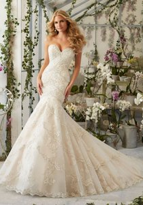 Mori Lee Morilee Bridal Embroidered Appliques And Edging With Crystal Beading Wedding Dress