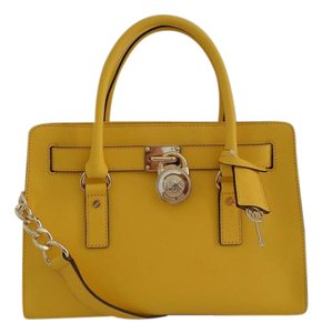 Michael Kors Saffiano Leather Mk Hamilton Mk Yellow Mk Medium Hamilton Satchel in SUNFLOWER YELLOW/GOLD Hardware