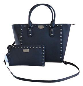 Michael Kors Saffiano Leather Studded Silver Hardware Strap Satchel in Navy