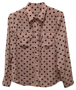 J.Crew Top Cream and black polka dot