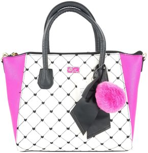 Betsey Johnson Quilted Diamonds Top Zip Closure Bone Fuchsia Matching Wallet Satchel in Ivory, Hot Pink, and Black