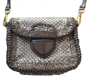895e949a5d31 Prada Woven Leather Metallic Clutch Unique Cross Body Bag