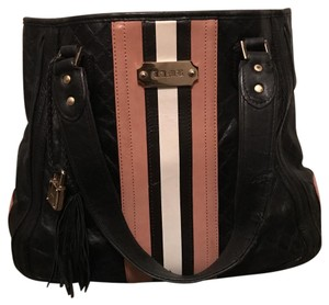 L.A.M.B. Satchel in Black with tan and white stripe