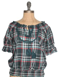 Anthropologie Peasant Plaid Peasant Top MULTI