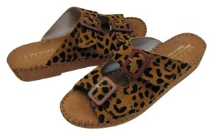 LA PLUME Leather Animal Print dark tan, black Sandals
