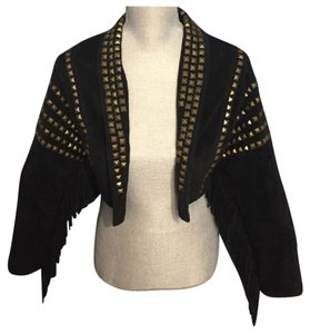 Topshop Black And Gold Leather Jacket