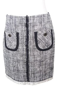Trina Turk Wool Tweed Mini Skirt black white