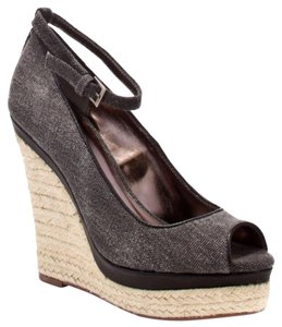 Charles by Charles David Espadrille Peep Toe Summer Black Wedges