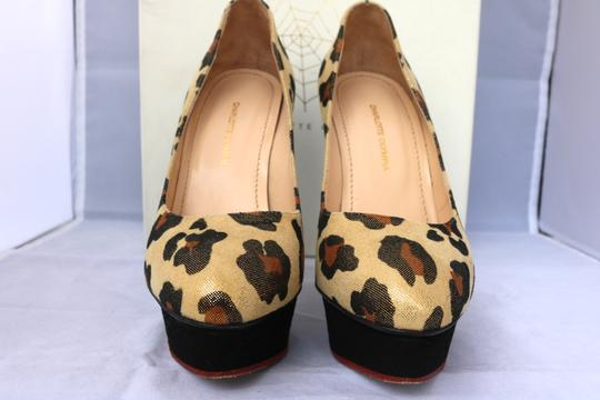Charlotte Olympia Platform Luxury Suede Round Toe GOLD/Brown Pumps