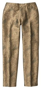Anthropologie Gold Elevenses Cropped Textured Capris