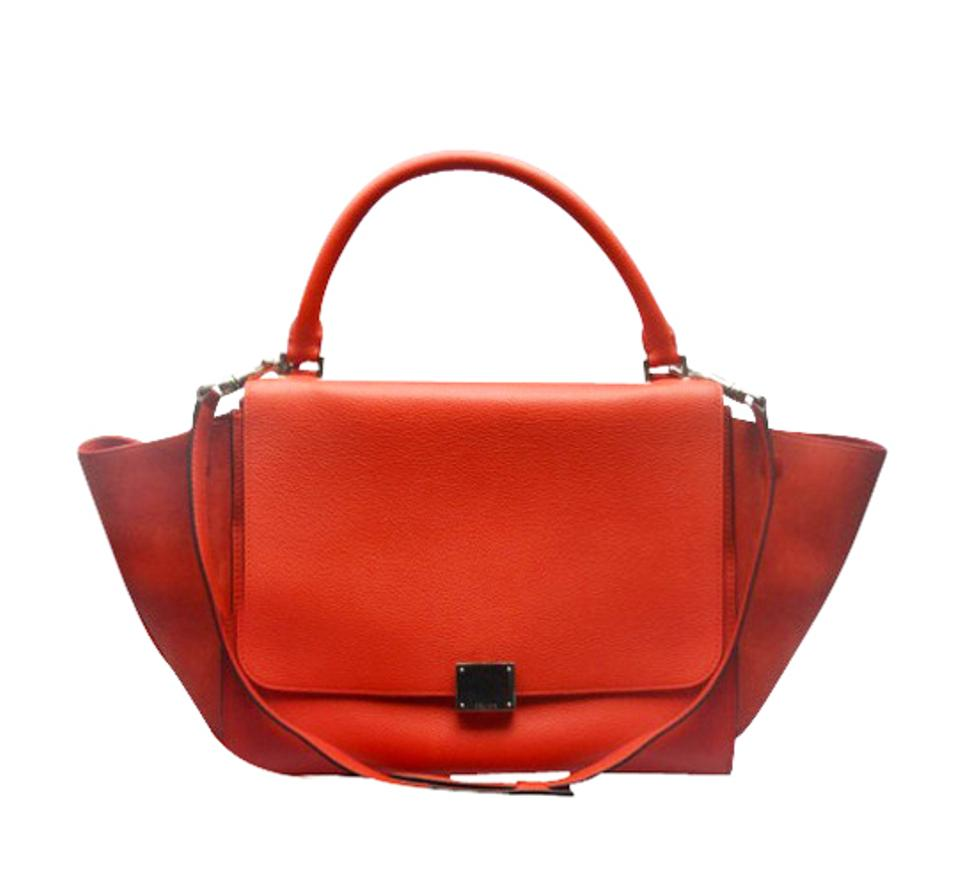 21fc3e838e Céline Trapeze Exquisite Silver Hardware W  Shoulder Strap Vermillion Red  Leather Cross Body Bag