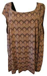 Dantelle Print Stretch Rayon Washable Plus Top TAUPE AND BLACK