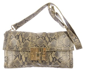 Tory Burch Holland Reva Gold Hardware Lock Logo Monogram Snakeskin Python Embossed Animal Print Clutch Front Flap Shoulder Bag