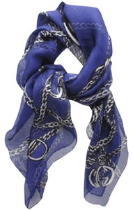 Gucci GUCCI Royal Blue Silk Chiffon Scarf