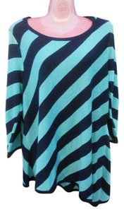 INC International Concepts Stretchy Metallic Night Out Date Night Career Top Navy and Aqua