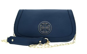 Tory Burch Crossbody Messenger Chain Blue Clutch